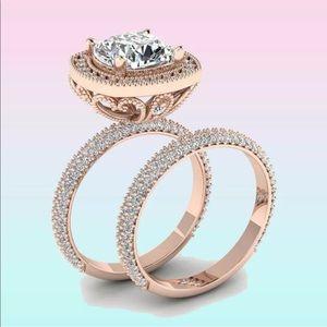 Jewelry - Rose gold luxury bridal 2-piece ring set